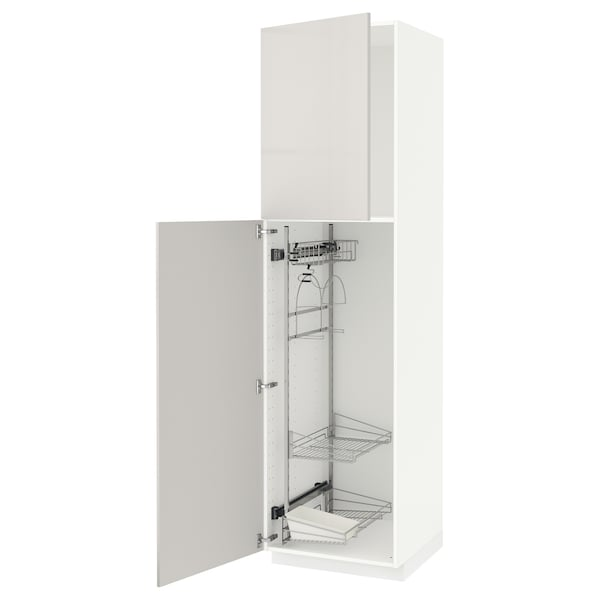 METOD High cabinet with cleaning interior, white/Ringhult light grey, 60x60x220 cm