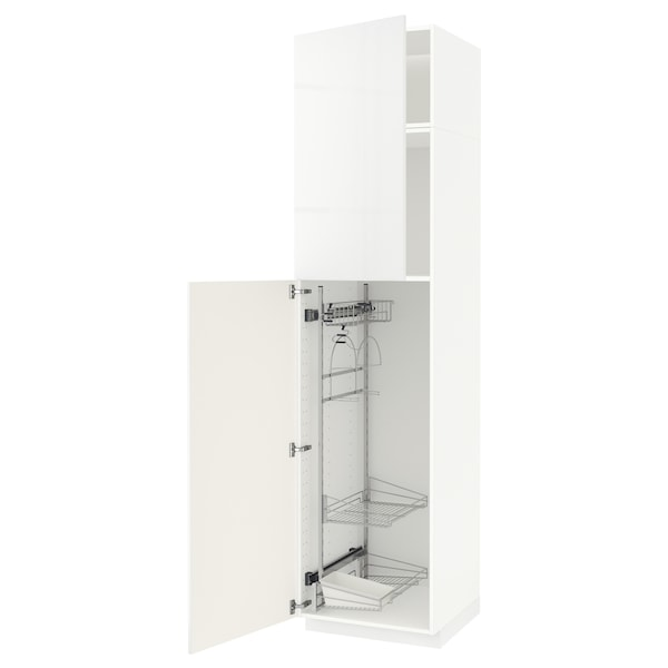 METOD High cabinet with cleaning interior, white/Ringhult white, 60x60x240 cm