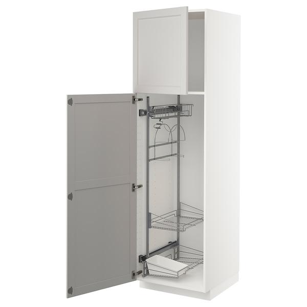 METOD high cabinet with cleaning interior white/Lerhyttan light grey 60.0 cm 61.6 cm 208.0 cm 60.0 cm 200.0 cm