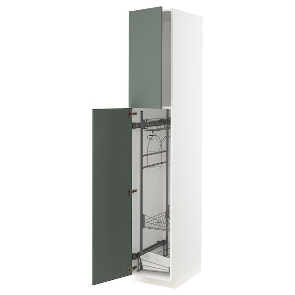METOD high cabinet with cleaning interior white/Bodarp grey-green 40.0 cm 61.6 cm 228.0 cm 60.0 cm 220.0 cm