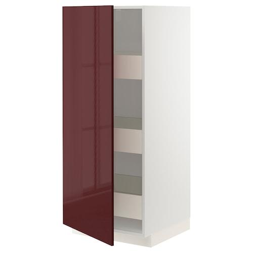 METOD high cabinet with drawers white Kallarp/high-gloss dark red-brown 60.0 cm 61.6 cm 148.0 cm 60.0 cm 140.0 cm