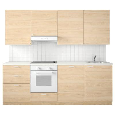 METOD Kitchen, white Maximera/Askersund ash, 240x60x228 cm