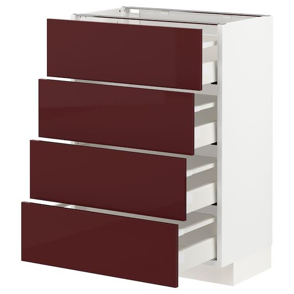 METOD / MAXIMERA Base cab 4 frnts/4 drawers, white Kallarp/high-gloss dark red-brown, 60x37 cm