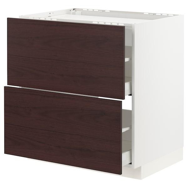 METOD / MAXIMERA Base cab f hob/2 fronts/2 drawers, white Askersund/dark brown ash effect, 80x60 cm