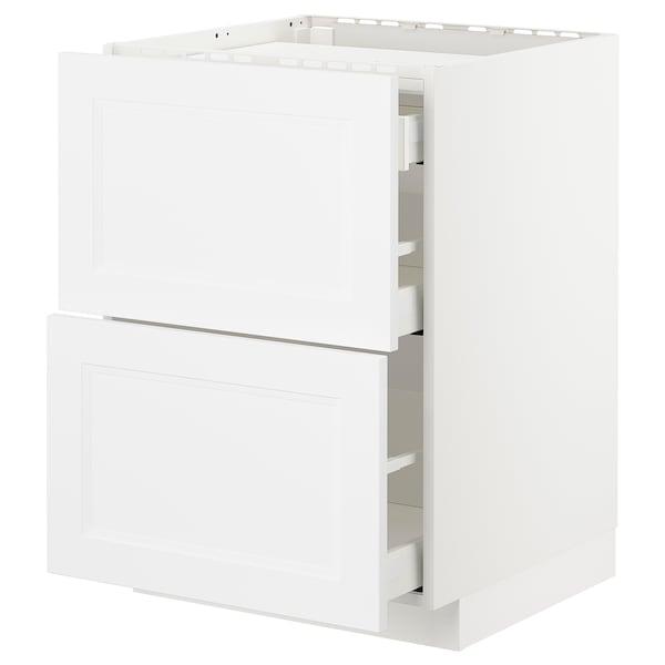 METOD / MAXIMERA Base cab f hob/2 fronts/3 drawers, white/Axstad matt white, 60x60 cm