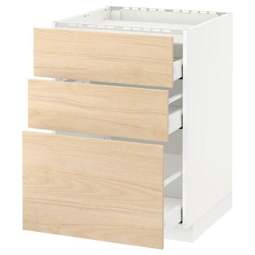 METOD / MAXIMERA base cab f hob/3 fronts/3 drawers white/Askersund light ash effect 60.0 cm 61.6 cm 88.0 cm 60.0 cm 80.0 cm