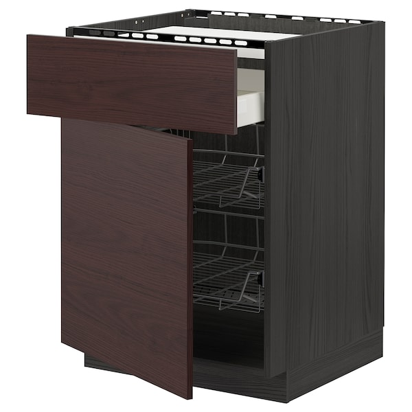 METOD / MAXIMERA Base cab f hob/drawer/2 wire bskts, black Askersund/dark brown ash effect, 60x60 cm