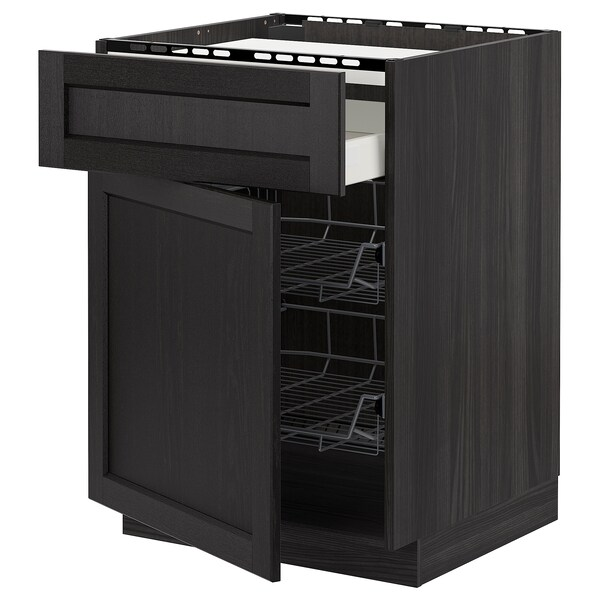 METOD / MAXIMERA Base cab f hob/drawer/2 wire bskts, black/Lerhyttan black stained, 60x60 cm