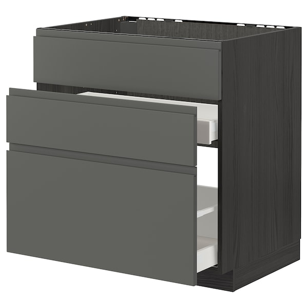 METOD / MAXIMERA Base cab f sink+3 fronts/2 drawers, black/Voxtorp dark grey, 80x60 cm