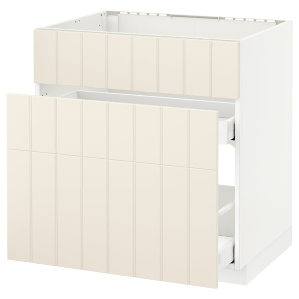 METOD / MAXIMERA base cab f sink+3 fronts/2 drawers white/Hittarp off-white 80.0 cm 61.8 cm 88.0 cm 60.0 cm 80.0 cm