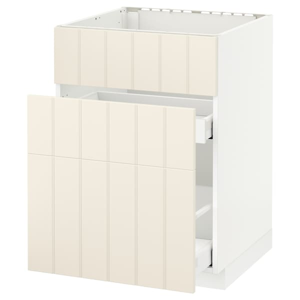 METOD / MAXIMERA base cab f sink+3 fronts/2 drawers white/Hittarp off-white 60.0 cm 61.8 cm 88.0 cm 60.0 cm 80.0 cm