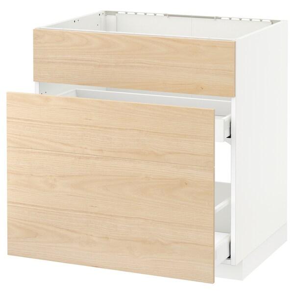 METOD / MAXIMERA base cab f sink+3 fronts/2 drawers white/Askersund light ash effect 80.0 cm 61.6 cm 88.0 cm 60.0 cm 80.0 cm