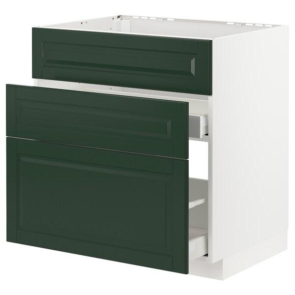 METOD / MAXIMERA base cab f sink+3 fronts/2 drawers white/Bodbyn dark green 80.0 cm 61.9 cm 88.0 cm 60.0 cm 80.0 cm