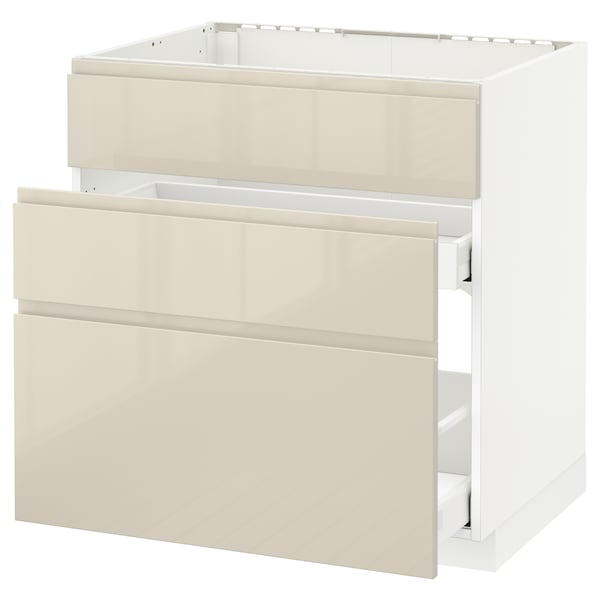 METOD / MAXIMERA base cab f sink+3 fronts/2 drawers white/Voxtorp high-gloss light beige 80.0 cm 62.1 cm 88.0 cm 60.0 cm 80.0 cm
