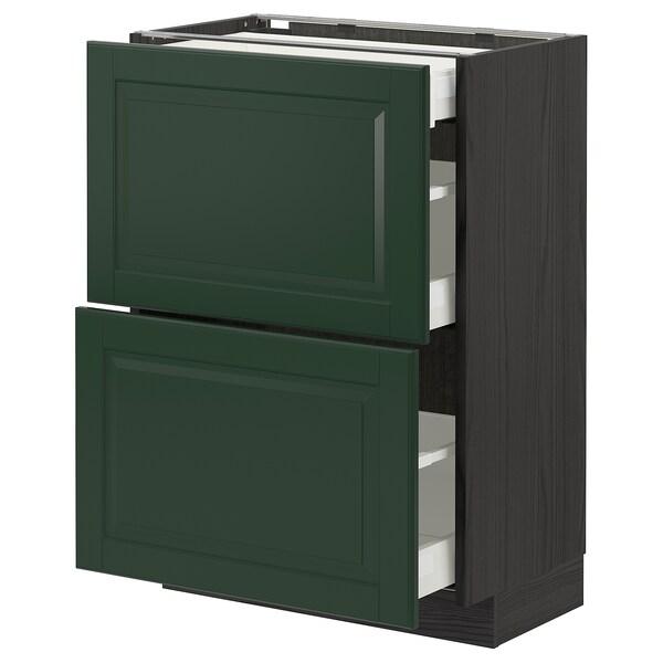 METOD / MAXIMERA Base cab with 2 fronts/3 drawers, black/Bodbyn dark green, 60x37 cm