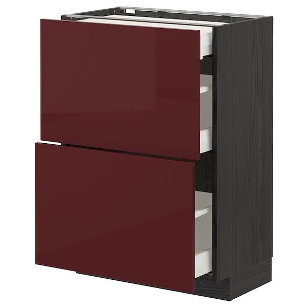 METOD / MAXIMERA base cab with 2 fronts/3 drawers black Kallarp/high-gloss dark red-brown 60.0 cm 39.2 cm 88.0 cm 37.0 cm 80.0 cm