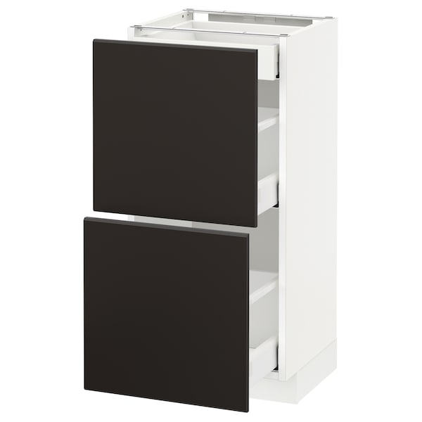 METOD / MAXIMERA base cab with 2 fronts/3 drawers white/Kungsbacka anthracite 40.0 cm 39.2 cm 88.0 cm 37.0 cm 80.0 cm