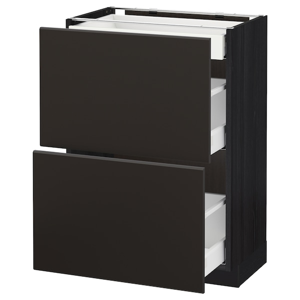 METOD / MAXIMERA base cab with 2 fronts/3 drawers black/Kungsbacka anthracite 60.0 cm 39.2 cm 88.0 cm 37.0 cm 80.0 cm