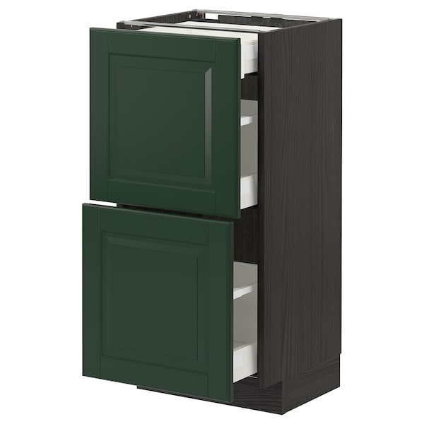 METOD / MAXIMERA base cab with 2 fronts/3 drawers black/Bodbyn dark green 40.0 cm 39.5 cm 88.0 cm 37.0 cm 80.0 cm