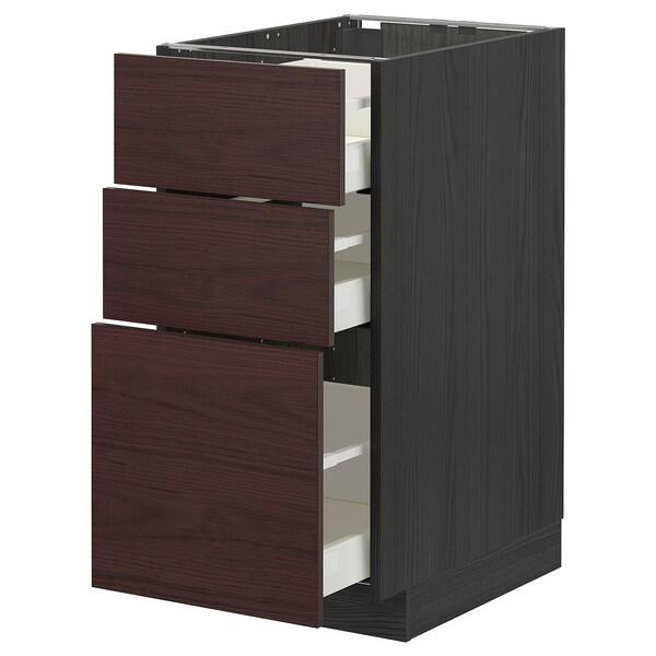 METOD / MAXIMERA Base cabinet with 3 drawers, black Askersund/dark brown ash effect, 40x60 cm