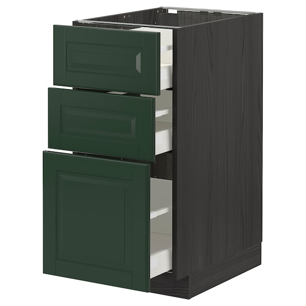 METOD / MAXIMERA Base cabinet with 3 drawers, black/Bodbyn dark green, 40x60 cm