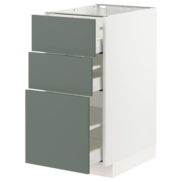 METOD / MAXIMERA Base cabinet with 3 drawers, white/Bodarp grey-green, 40x60 cm