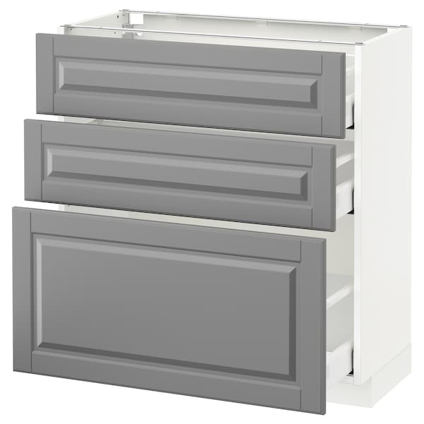 METOD / MAXIMERA Base cabinet with 3 drawers, white/Bodbyn grey, 80x37 cm