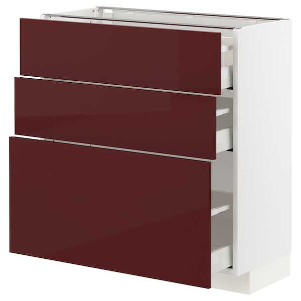 METOD / MAXIMERA Base cabinet with 3 drawers, white Kallarp/high-gloss dark red-brown, 80x37 cm