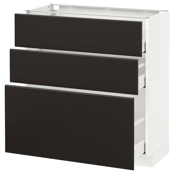 METOD / MAXIMERA Base cabinet with 3 drawers, white/Kungsbacka anthracite, 80x37 cm