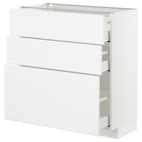 METOD / MAXIMERA Base cabinet with 3 drawers, white/Kungsbacka matt white, 80x37 cm