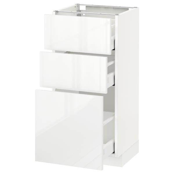 METOD / MAXIMERA base cabinet with 3 drawers white/Ringhult white 40.0 cm 39.4 cm 88.0 cm 37.0 cm 80.0 cm