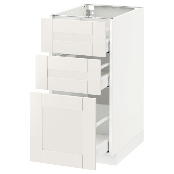 METOD / MAXIMERA Base cabinet with 3 drawers, white/Sävedal white, 40x60 cm