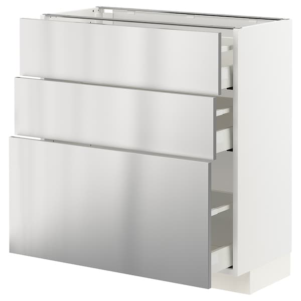 METOD / MAXIMERA Base cabinet with 3 drawers, white/Vårsta stainless steel, 80x37 cm