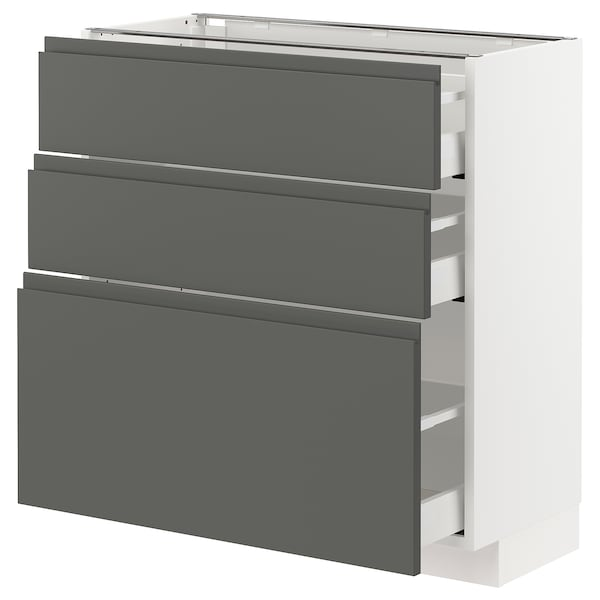 METOD / MAXIMERA Base cabinet with 3 drawers, white/Voxtorp dark grey, 80x37 cm