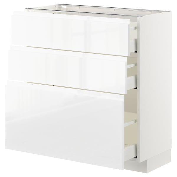 METOD / MAXIMERA Base cabinet with 3 drawers, white/Voxtorp high-gloss/white, 80x37 cm