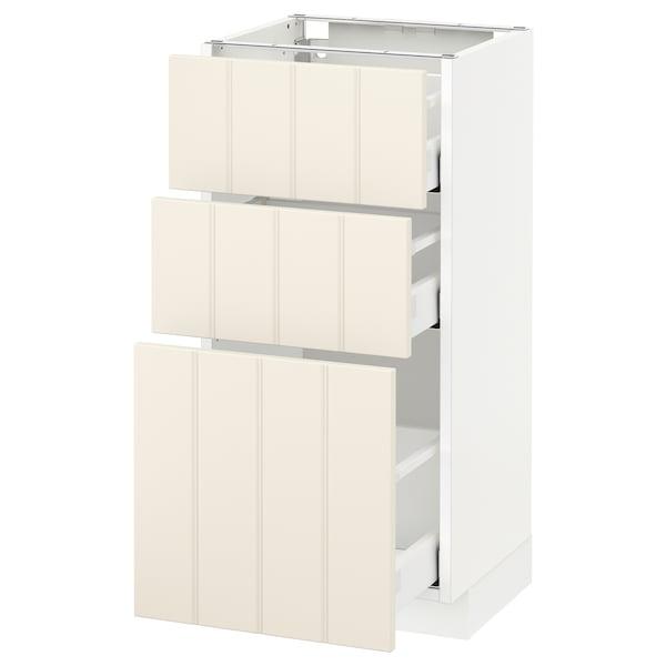 METOD / MAXIMERA base cabinet with 3 drawers white/Hittarp off-white 40.0 cm 39.4 cm 88.0 cm 37.0 cm 80.0 cm
