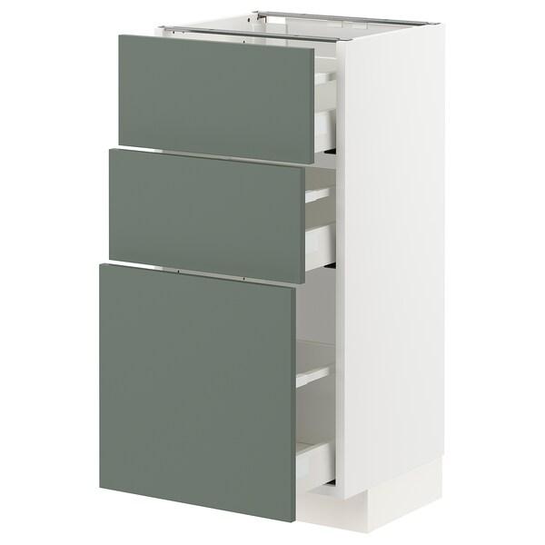 METOD / MAXIMERA base cabinet with 3 drawers white/Bodarp grey-green 40.0 cm 39.2 cm 88.0 cm 37.0 cm 80.0 cm