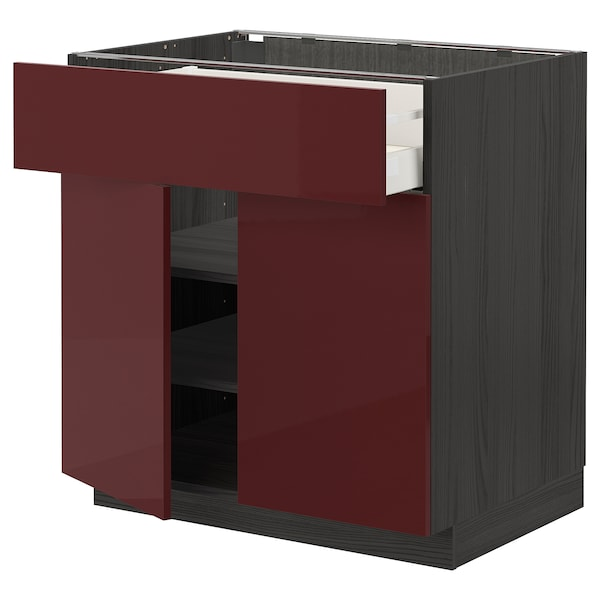 METOD / MAXIMERA Base cabinet with drawer/2 doors, black Kallarp/high-gloss dark red-brown, 80x60 cm