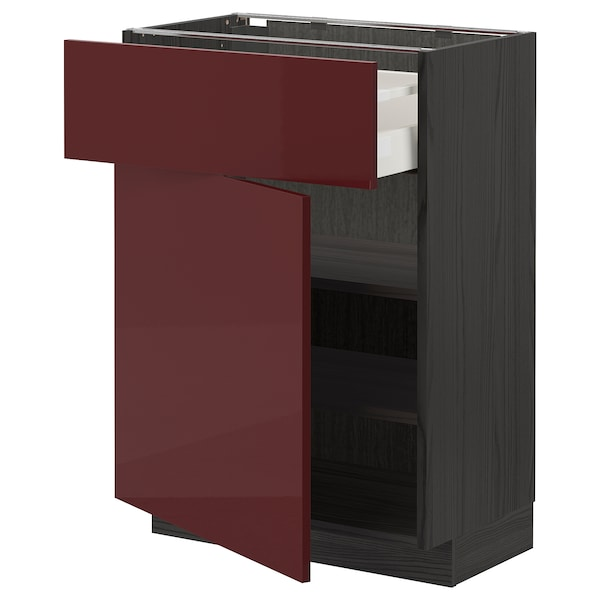 METOD / MAXIMERA Base cabinet with drawer/door, black Kallarp/high-gloss dark red-brown, 60x37 cm