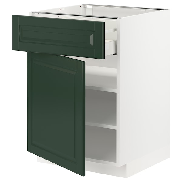 METOD / MAXIMERA Base cabinet with drawer/door, white/Bodbyn dark green, 60x60 cm