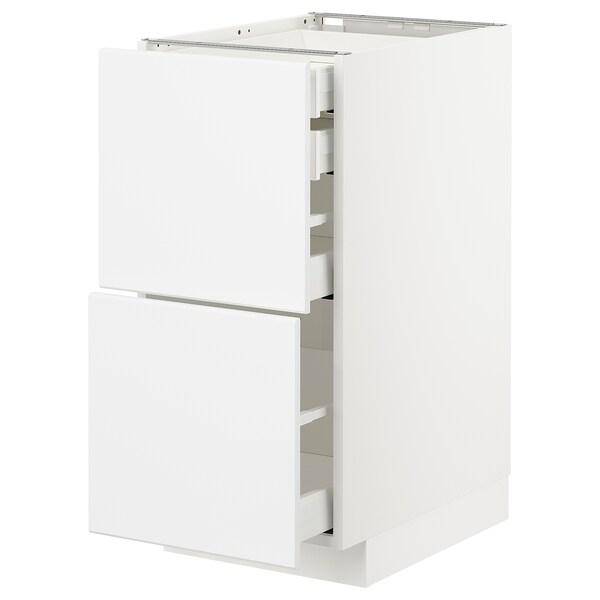 METOD / MAXIMERA base cb 2 frnts/2 low/1 md/1 hi drw white/Kungsbacka matt white 40.0 cm 61.6 cm 88.0 cm 60.0 cm 80.0 cm