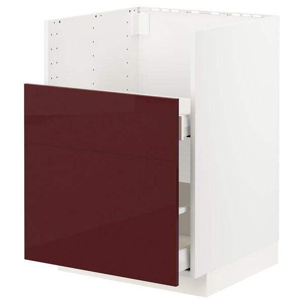 METOD / MAXIMERA bc f BREDSJÖN sink/2 fronts/2 drws white Kallarp/high-gloss dark red-brown 60.0 cm 61.6 cm 88.0 cm 60.0 cm 80.0 cm