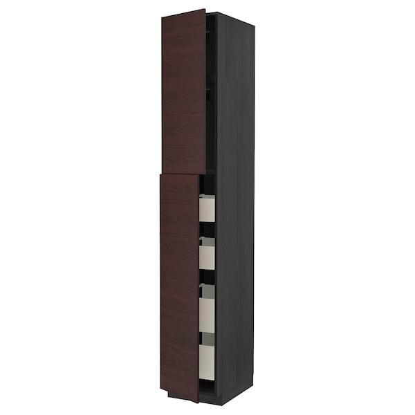 METOD / MAXIMERA Hi cab w 2 doors/4 drawers, black Askersund/dark brown ash effect, 40x60x240 cm