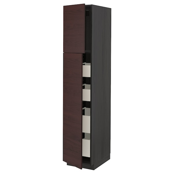 METOD / MAXIMERA Hi cab w 2 doors/4 drawers, black Askersund/dark brown ash effect, 40x60x200 cm
