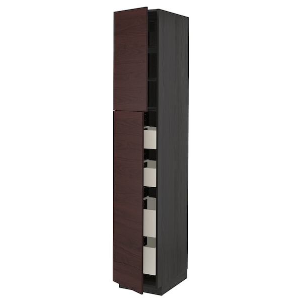 METOD / MAXIMERA Hi cab w 2 doors/4 drawers, black Askersund/dark brown ash effect, 40x60x220 cm
