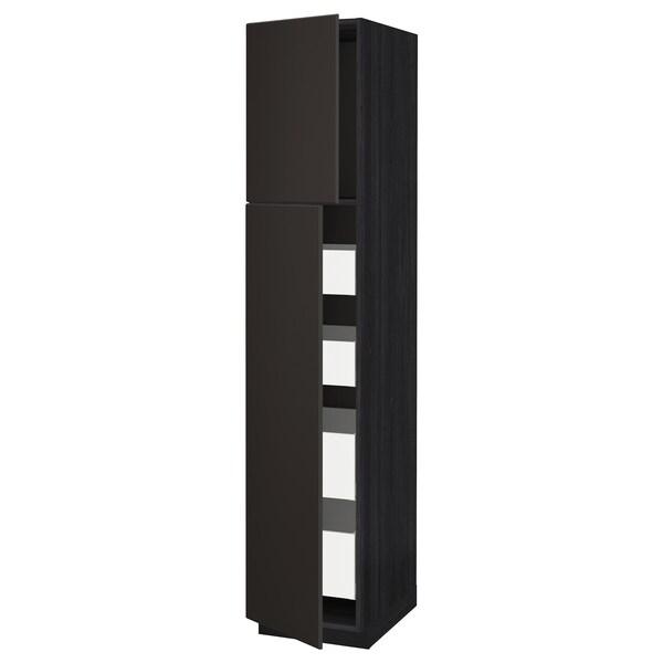 METOD / MAXIMERA Hi cab w 2 doors/4 drawers, black/Kungsbacka anthracite, 40x60x200 cm