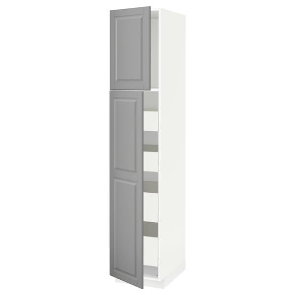 METOD / MAXIMERA Hi cab w 2 doors/4 drawers, white/Bodbyn grey, 40x60x200 cm