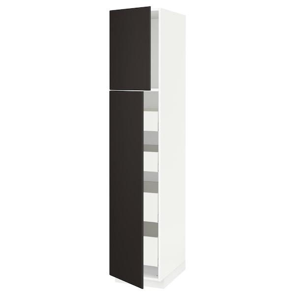 METOD / MAXIMERA Hi cab w 2 doors/4 drawers, white/Kungsbacka anthracite, 40x60x200 cm
