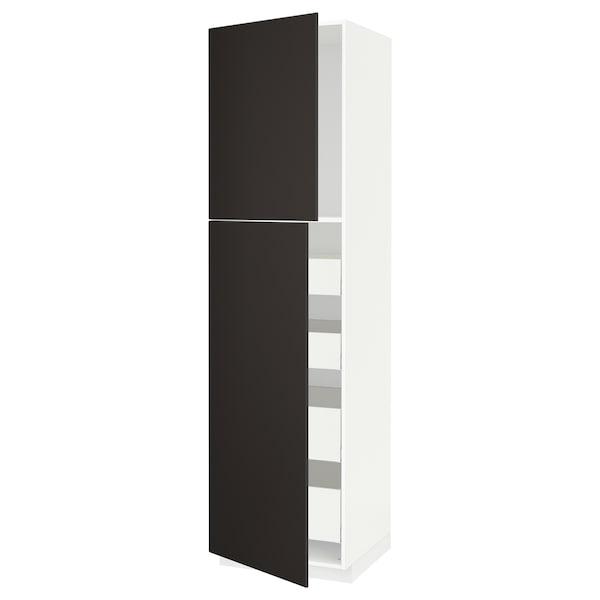 METOD / MAXIMERA Hi cab w 2 doors/4 drawers, white/Kungsbacka anthracite, 60x60x220 cm