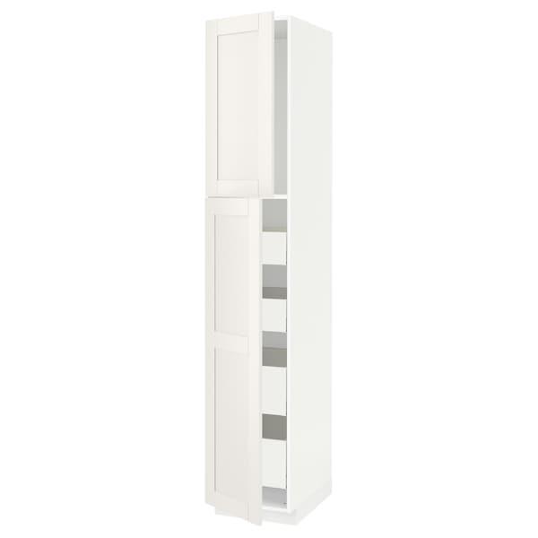 METOD / MAXIMERA Hi cab w 2 doors/4 drawers, white/Sävedal white, 40x60x220 cm